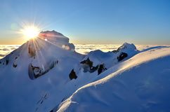 Winter mountain landscape with sea of clouds. Stock Images