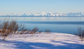 Mountain landscape, Magadan. Winter mountain landscape the Sea of Okhotsk, Magadan, Russia Stock Photos