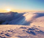 Winter mountain landscape with sun - Slovakia Stock Photo
