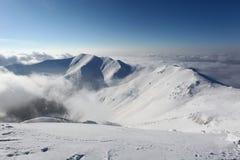 Winter mountain landscape with sun - Slovakia Royalty Free Stock Photo