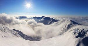 Winter mountain landscape with sun - Slovakia Stock Photos
