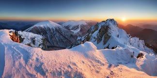 Winter mountain landscape sunset in peak Rozsutec Royalty Free Stock Images