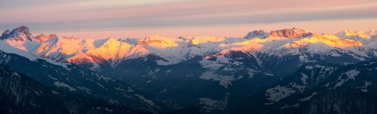 Winter mountain landscape panorama view in the Swiss Alps Stock Image