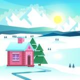 Winter mountain landscape. Vector illustration Stock Photos