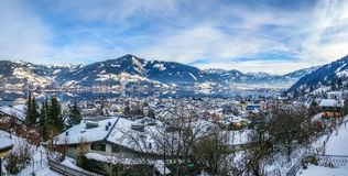 Winter mountain landscape with village of Zell am See, Austria Royalty Free Stock Images