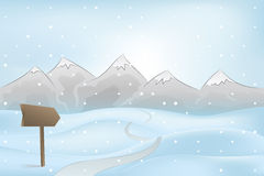 Winter mountain outdoors with path and pointer at snowfall vector Royalty Free Stock Photo