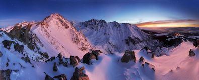 Winter mountain panorama landscape at night, Slovakia Tatras Royalty Free Stock Images