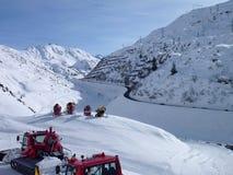 Winter mountain panorama of st. anton am arlberg. Resort Royalty Free Stock Image