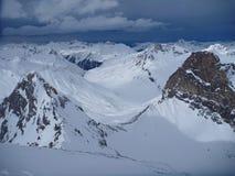 Winter mountain panorama of st. anton am arlberg. Resort Stock Photo