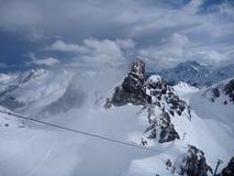 Winter mountain panorama of st. anton am arlberg. Resort Royalty Free Stock Photo