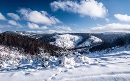 Winter mountain panorama from Wielky Przyslop hill near Wielka Racza in Zywiec Beskids mountains on polish - slovakian borders. Winter ountain scenery with snow Royalty Free Stock Photo