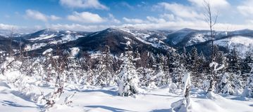 Winter mountain panorama from Wielky Przyslop hill near Wielka Racza in Zywiec Beskids mountains on polish - slovakian borders. Winter ountain scenery with snow Stock Images
