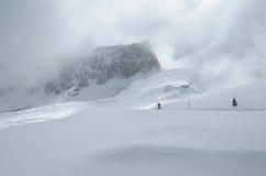 Winter mountain pass Stock Photography