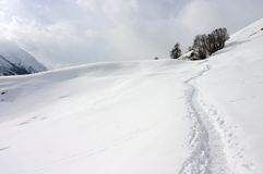 Winter mountain path. In Swiss Alps Royalty Free Stock Photos