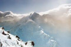 Winter mountain peaks at sunset Stock Photography