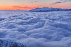 Winter mountain. In Piatra Craiului Mountains, Romania stock photo