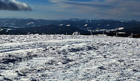 Winter mountain ranges panorama during snowshoeing in Fischbacher Alpen Stock Photo