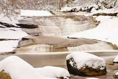 Winter at mountain river. Big stones in stream covered with fresh powder snow and lazy water with low level. Stock Photography