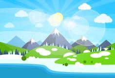 Winter Mountain River Landscape Background Stock Photos