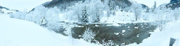 Winter mountain river landscape Stock Photos