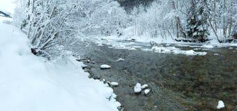 Winter mountain river panorama. Royalty Free Stock Image