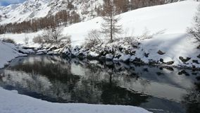 Winter Mountain River stock video footage