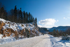 Winter mountain road is in the Adygea Stock Photography