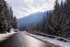 Winter mountain road. Landscape with winter mountain road Stock Photo