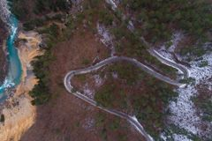 Winter mountain road view from above. Winter mountain road in Montenegro view from above Stock Photography