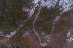 Winter mountain road view from above. Winter mountain road in Montenegro view from above Stock Image