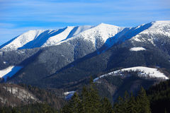 Winter mountain scene in Slovakia. Dononvaly Snow park Royalty Free Stock Images