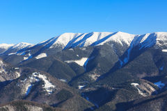 Winter mountain scene in Slovakia. Winter mountain ridge near Donovaly snow park in Slovakia Royalty Free Stock Image