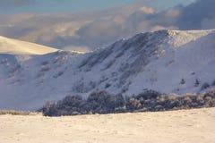 Winter mountain scenery in Bieszczady mountains Royalty Free Stock Photo