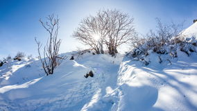 Winter mountain scenery timelapse Stock Image