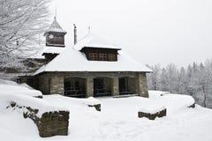Winter mountain shelter landscape Royalty Free Stock Photos