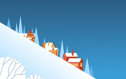 Winter Mountain Slope Village Landscape Background, Night Snow Trees Forest. Flat Vector Illustration Stock Photography