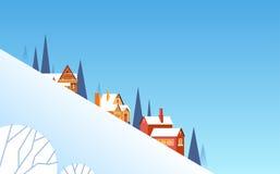 Winter Mountain Slope Village Landscape Background, Snow Trees Forest. Flat Vector Illustration Stock Images