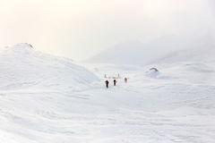 Winter, Mountain snowy landscape with hikers. stock image