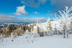 Winter mountain snowy landscape Royalty Free Stock Photos