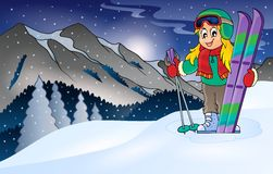 Winter mountain sport theme 1 Royalty Free Stock Photo