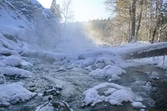 Winter mountain stream. Royalty Free Stock Photos