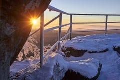 Winter mountain sunrise. Stock Photos