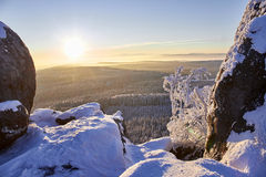 Winter mountain sunrise. Royalty Free Stock Photos