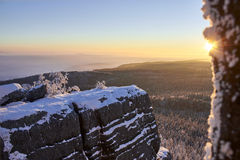 Winter mountain sunrise. stock images