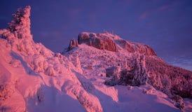 Winter mountain sunset royalty free stock photos