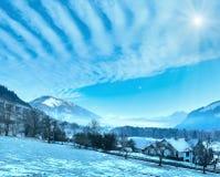 Winter mountain sunshiny village Austria. Royalty Free Stock Photo
