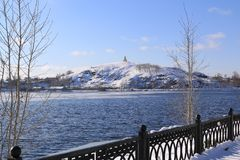 The Winter Mountain in Tagil stock photo