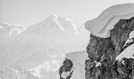 Winter mountain top with big snow cap Royalty Free Stock Photography