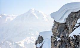 Winter mountain top with big snow cap Royalty Free Stock Photos