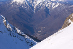 Winter mountain valley. From the other mountain in the Caucasus Royalty Free Stock Photos